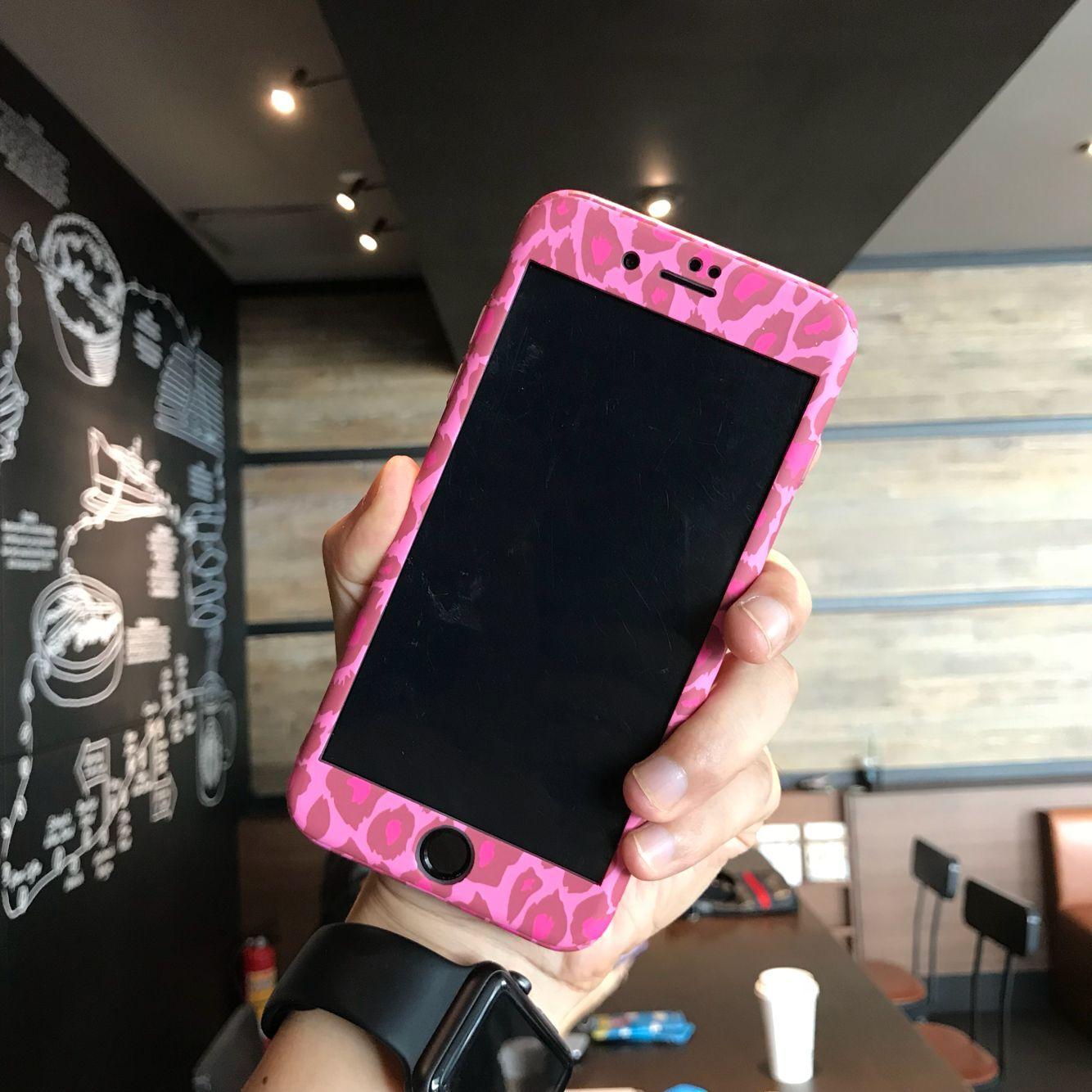 前后全包粉红豹纹苹果7plus手机壳女款骚气iPhone6s 8plus防摔壳