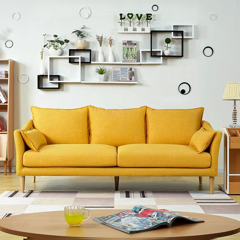 北欧ins风格小户型客厅公寓双人三人服装店黄色羽绒乳胶布艺沙发