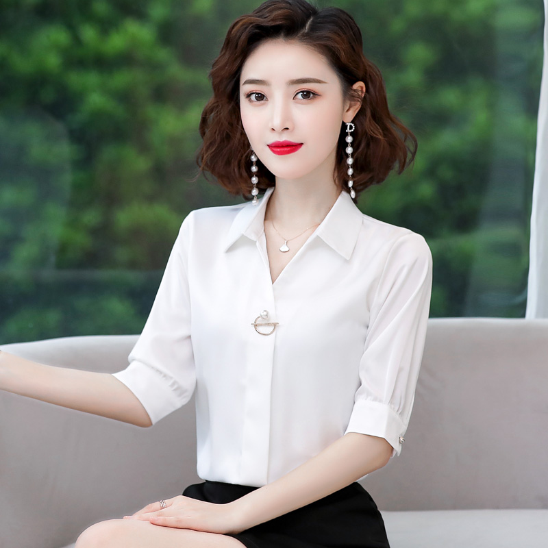 Chiffon Shirt Short Sleeve 2021 spring and summer V-neck half sleeve work clothes professional white shirt fashion womens top
