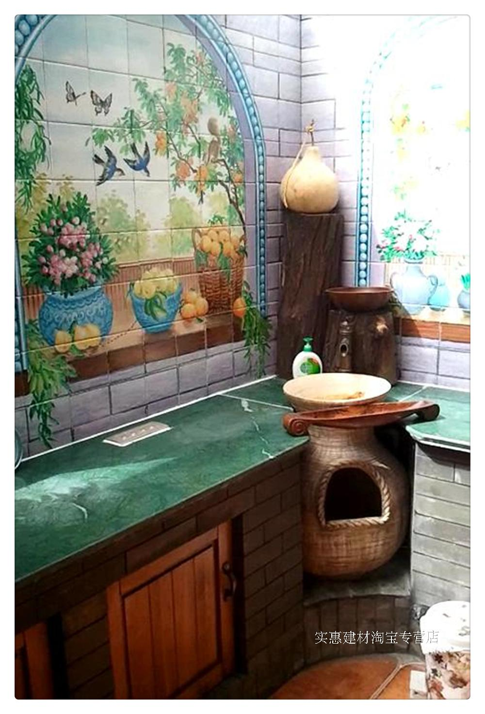 It is recommended that Foshan factory hand painted retro pastoral oil painting plant ceramic tile window sill kitchen bath room wall brick