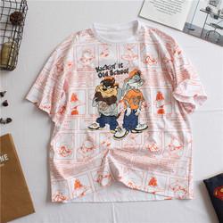 夏季新款韩国休闲大码半袖宽松满印漫画卡通爽滑棉减龄短袖T恤女