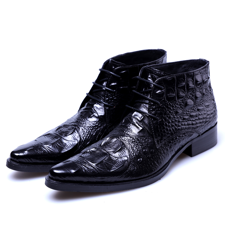 Genuine woufo fashionable new high top mens shoes lace up British pointed mens boots business leather shoes