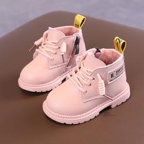 宝宝马丁靴软底加绒冬季新款短靴子12岁男女童婴儿棉鞋防滑皮鞋3