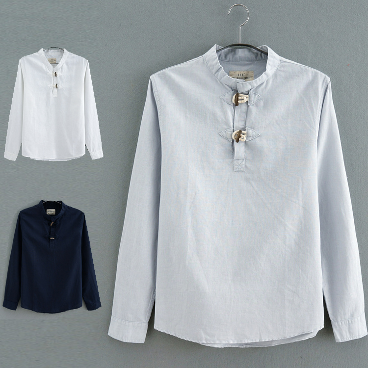 Chinese style linen long sleeve stand collar pullover shirt mens summer solid color Top Casual linen
