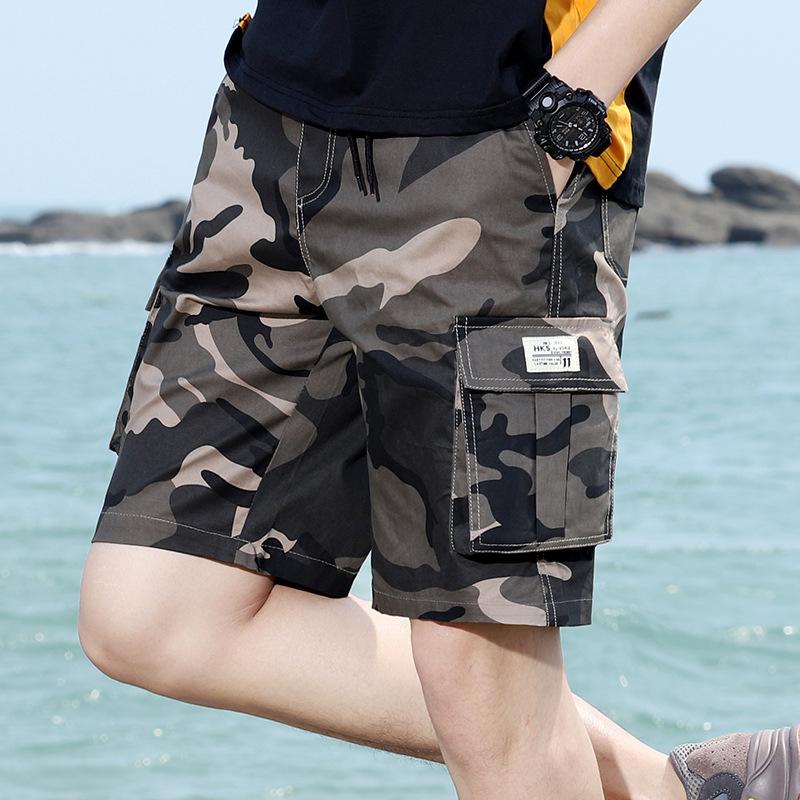 潮牌热卖夏季男迷彩休闲五分裤青少年多口袋工装短裤跨境大码短裤