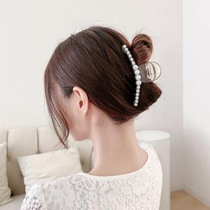 韩国ins盘发珍珠发夹少女后脑勺大号发抓头发夹子抓夹发卡头饰品