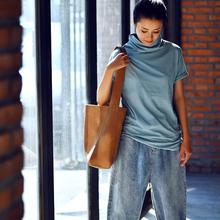 多色高领短袖 弹力短袖 T恤女秋 打底衫 修身 米可可T191A 文艺大码