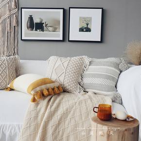 手工编织流苏抱枕靠垫床头靠枕民族摩洛哥风格ins北欧复古风靠包