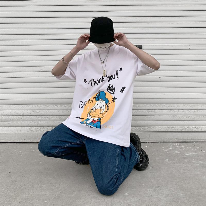 短袖男女同款情侣T恤卡通港风五分袖宽松潮 B365-T311-P38