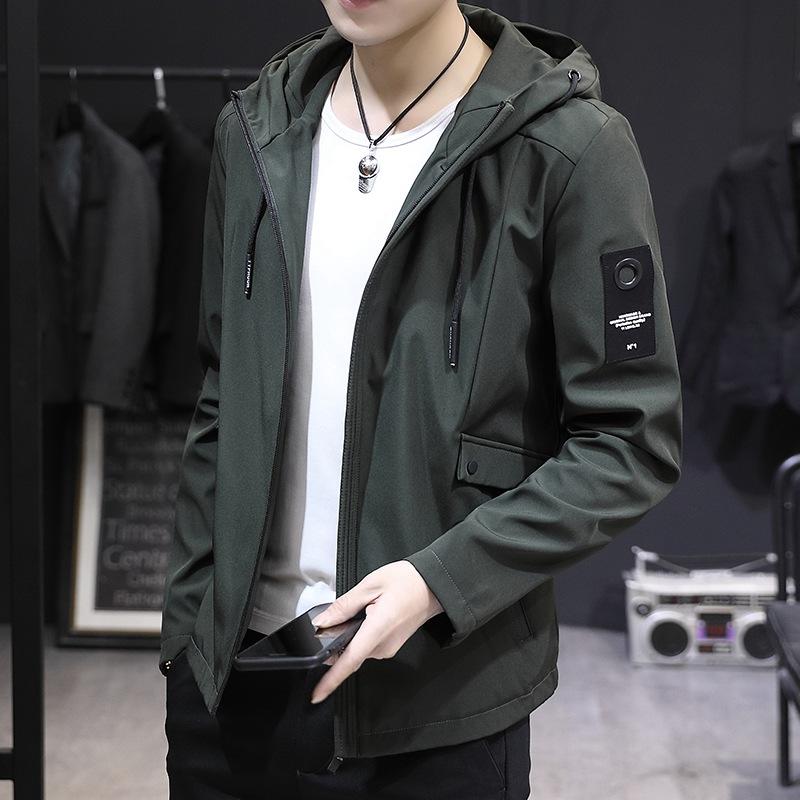 Military green Hooded Coat mens spring and autumn 2020 Korean fashion handsome casual slim jacket mens fat big coat