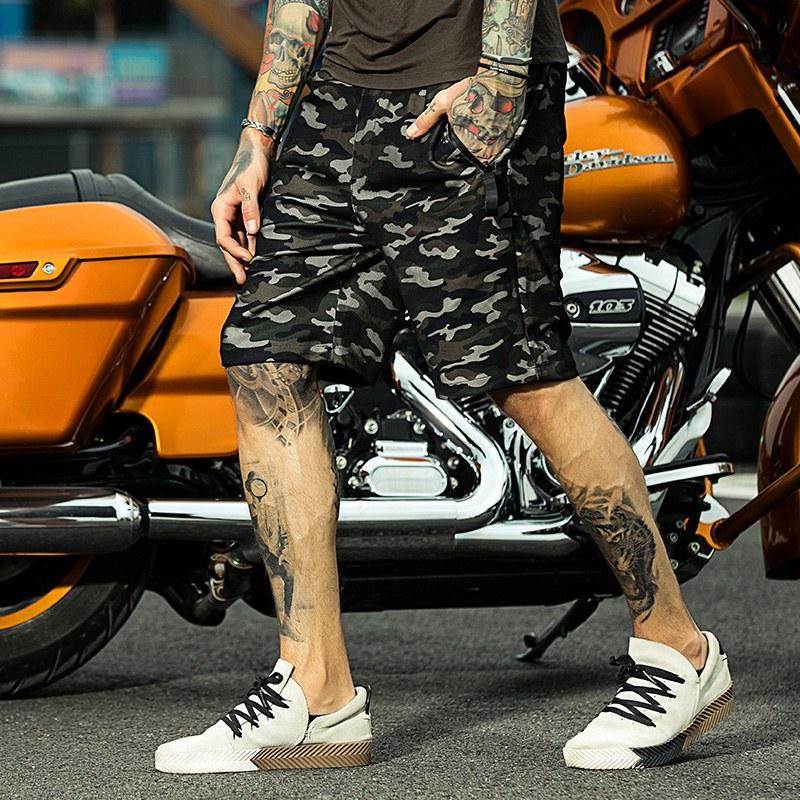 2020 mens summer shorts, elastic pants, Japanese and Korean Capris, loose beach pants, camouflage casual pants, handsome mens wear