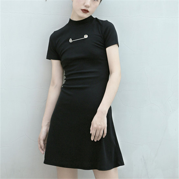 Three fold clearance! Original cool girls double faced knitted backless dress black grey