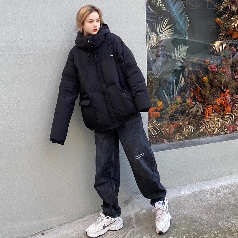 RERM潮牌羽绒服男短款黑色廓形宽松连帽羽绒服面包服冬季加厚外套