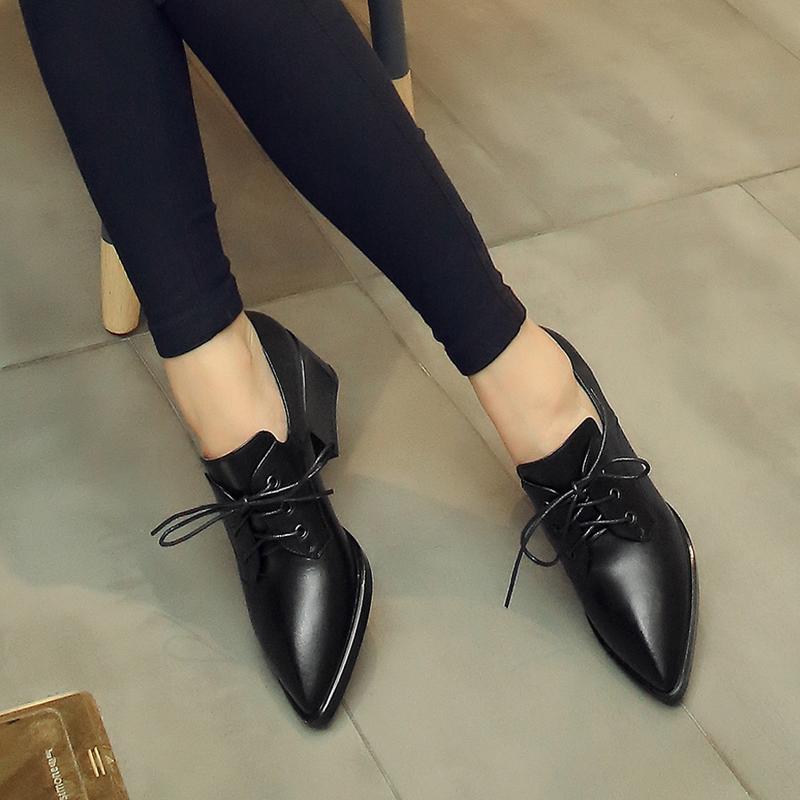 英伦小码女鞋31 32 33大码单鞋女41-43高跟真皮深口40 42粗跟尖头