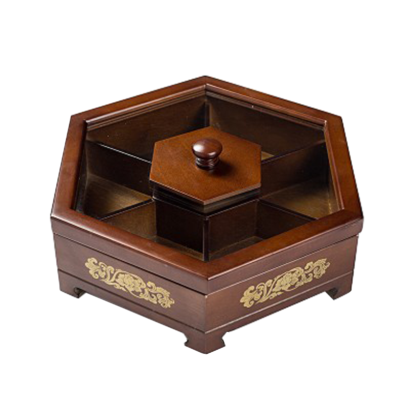 木制创意干果盒糖果盒分格带盖客厅糖果盘瓜子盒家用点心零食盒