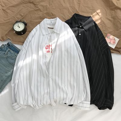 平铺摆拍 秋季新款条纹长袖衬衫 中性bf风休闲宽松衬衣潮CR06-P45