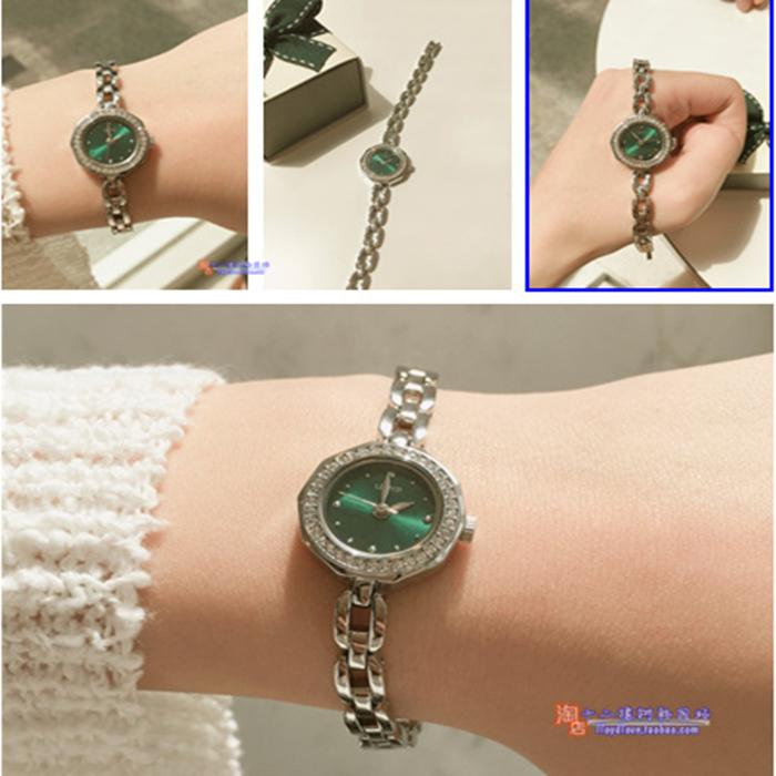 韩国新品镂空钢链lloyd钻表女表时尚潮流祖母绿20mm潮流日韩腕表