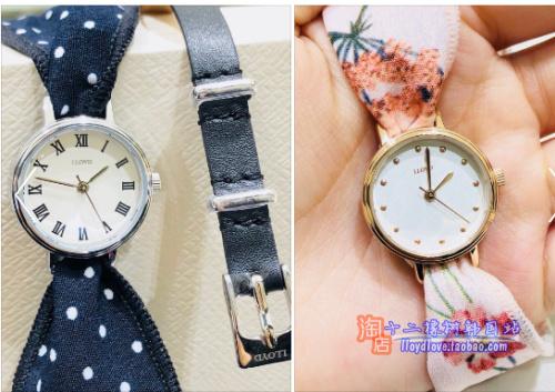 韩国lloyd手表女表专柜正品罗马盘23mm手绢皮带时尚淑女表带礼盒