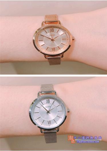 韩国手表lloyd专柜手表女表简洁时尚设计28mm盘金属三气压防水