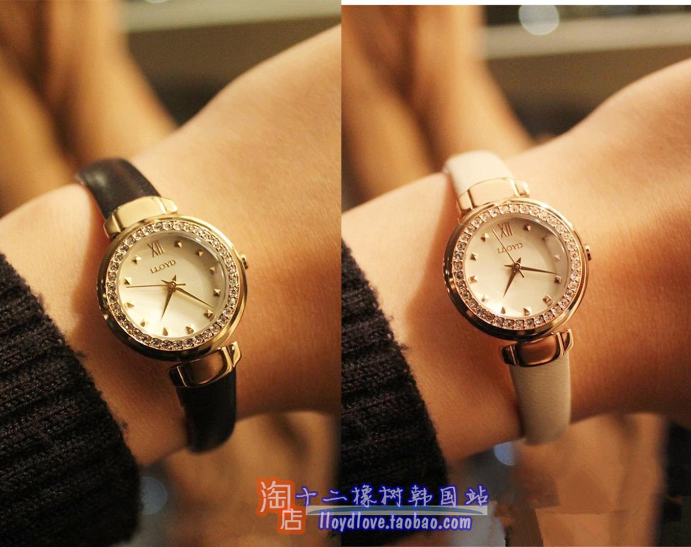韩国新款休闲饰品lloyd时尚女表特价女款内外镶钻表红白色藏青22
