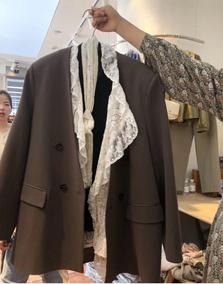 韩国东大门蕾丝拼接咖色外套小西服