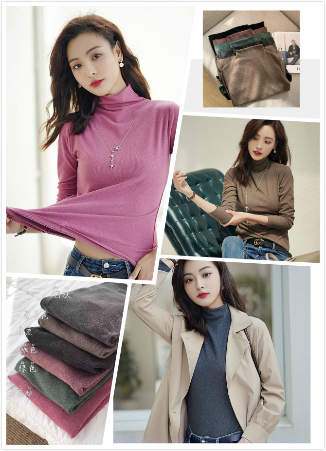 Autumn and winter Korean cationic base coat womens knitting versatile heat slim high elastic long sleeve half high collar warm top