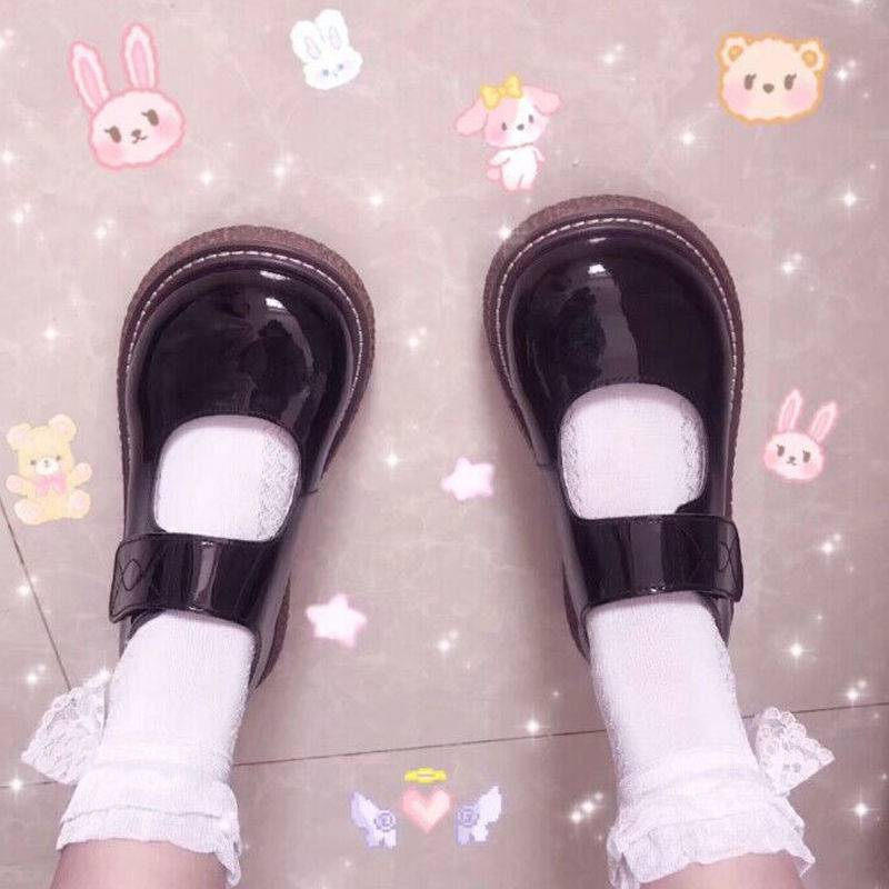 Japanese doll thick sole Lolita round head big head JK small leather shoes single womens College soft girl shoes spring