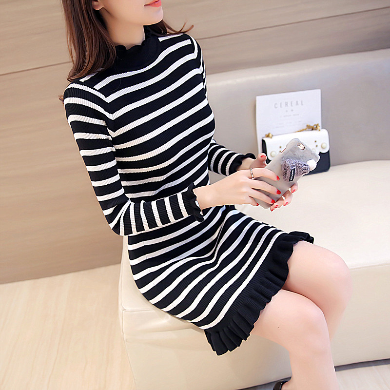 Black and white striped sweater women 2020 new autumn and winter with medium and long slim bottomed sweater knitted dress