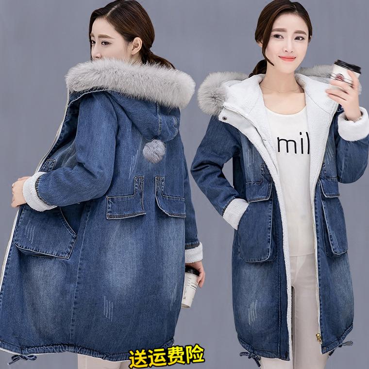 牛仔棉服女冬季外套女装胖MM大版中长款加绒加厚冬装大毛领棉衣
