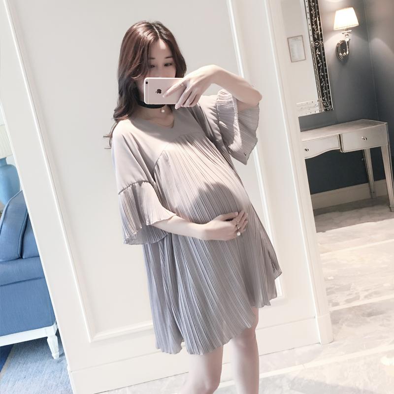 孕妇夏装上衣2021新款潮辣妈娃娃款雪纺衫韩版宽松大码孕妇连衣裙
