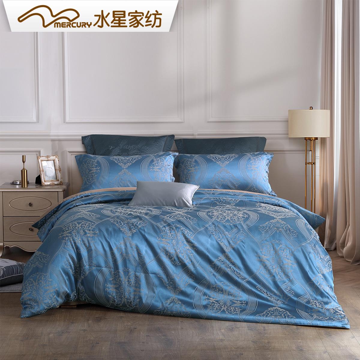 新品19米床上用品1.8欧式提花套件简约四件套巴黎夜色水星家纺