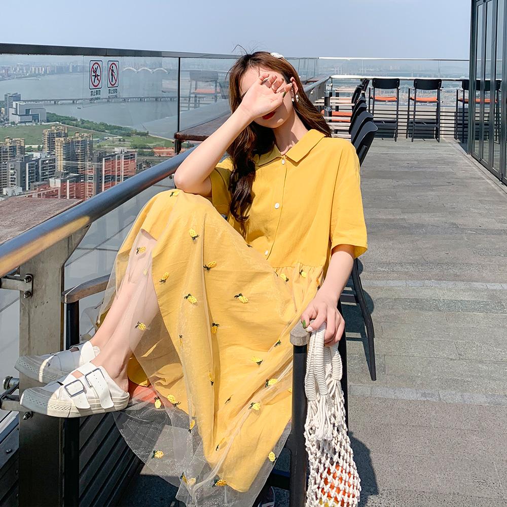 很仙的法国小众桔梗裙初恋小个女宽松时尚气质夏装网纱polo连衣裙