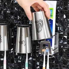 不锈钢牙刷牙膏置物架吸壁式免打孔刷牙杯牙膏架卫生间漱口杯壁挂