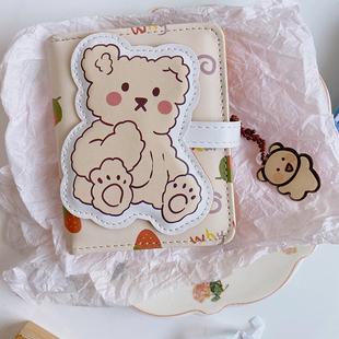 韓國ins簡約小巧卡通可愛軟萌小熊短款錢包女學生折疊PU三折卡包