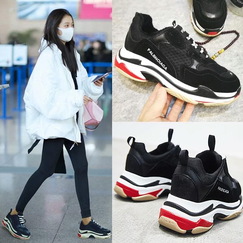 亲子鞋韩版母女母子父子一家三口休闲运动透气跑鞋儿童情侣ins鞋