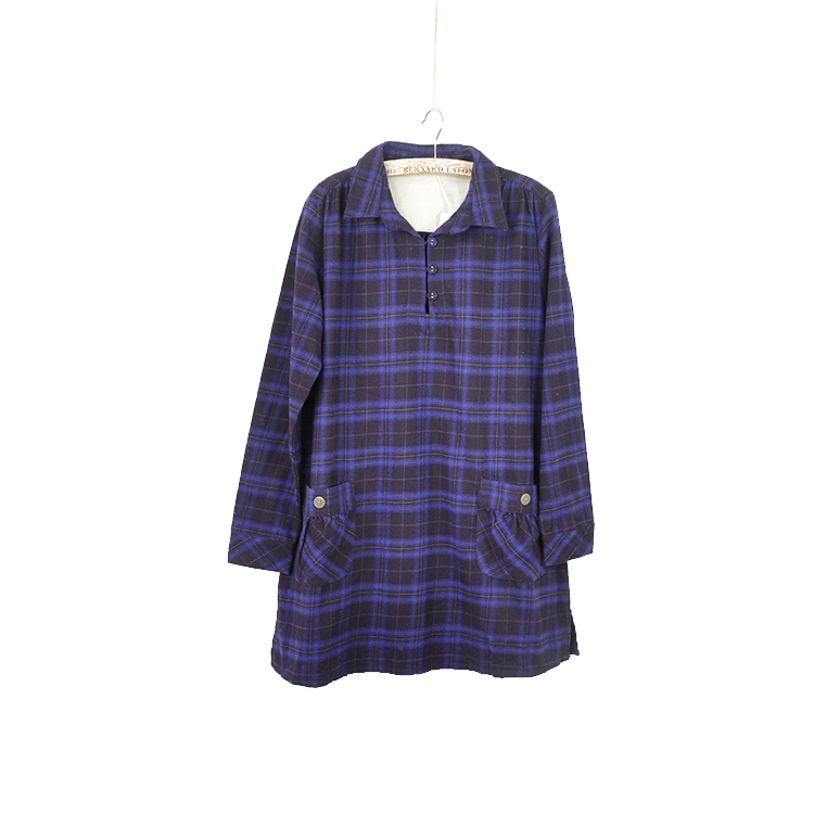 Foreign trade Mori Plaid Dress Japanese cotton cloth clothes with thickened frosted collar and Multi Pocket original single