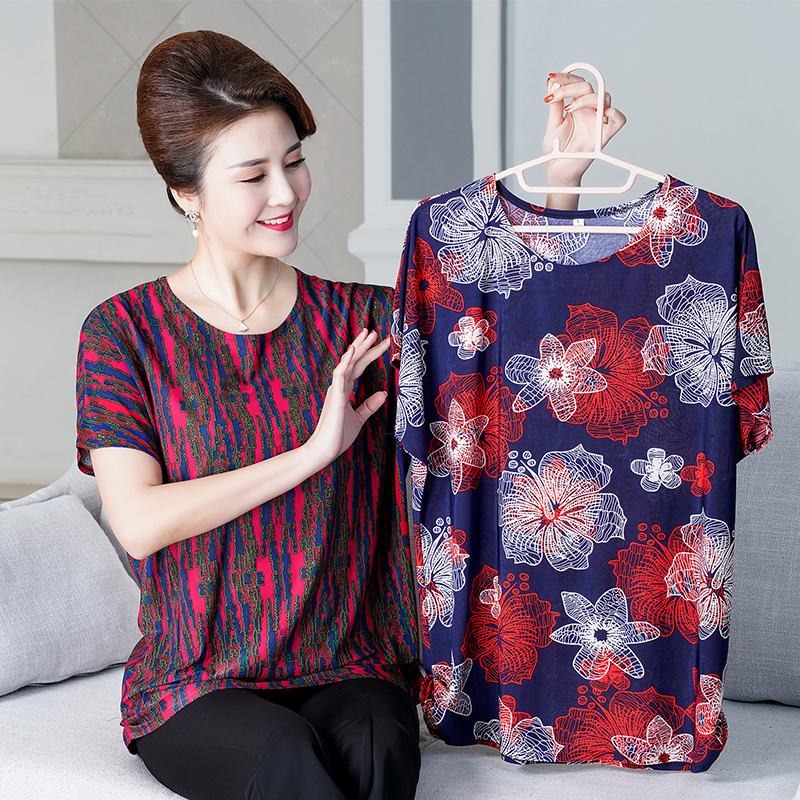 Middle aged and elderly womens summer wear short sleeve T-shirt extra large 200 kg fattening plus plus size mothers and grandmothers clothes for the elderly