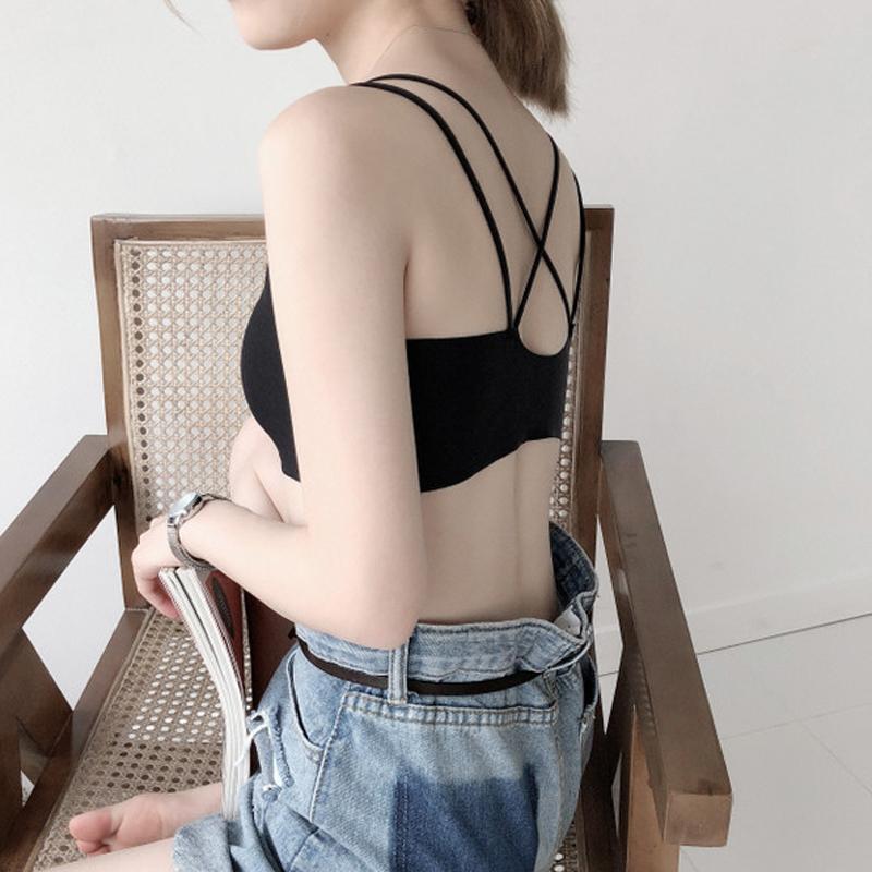 夏季时尚裹胸式美背吊带背心防走光短款性感聚拢打底抹胸内衣女士