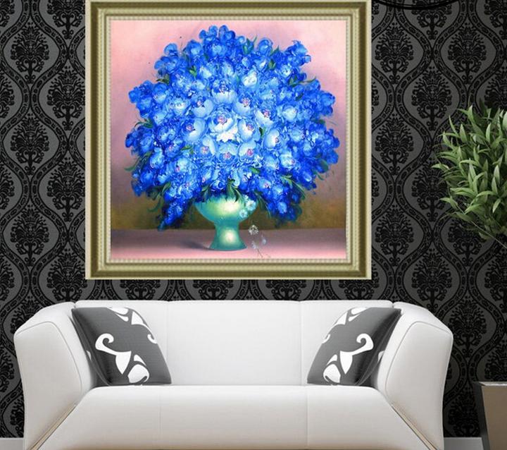 特价生态棉印花十字绣花卉绽放蓝花花瓶满绣美丽绽放中格