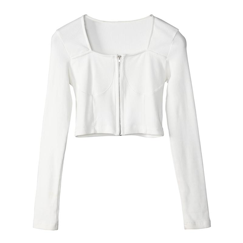 1031女装拉链短款时尚针织小外套...