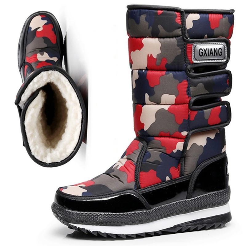 東北旅行スノーブーツ女性防水滑り止め保温靴冬の厚い底の高筒屋外厚手の雪靴