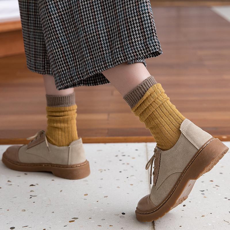 日系堆堆袜女袜子纯棉夏长筒中筒袜厚春秋韩国可爱潮四季森系粗线