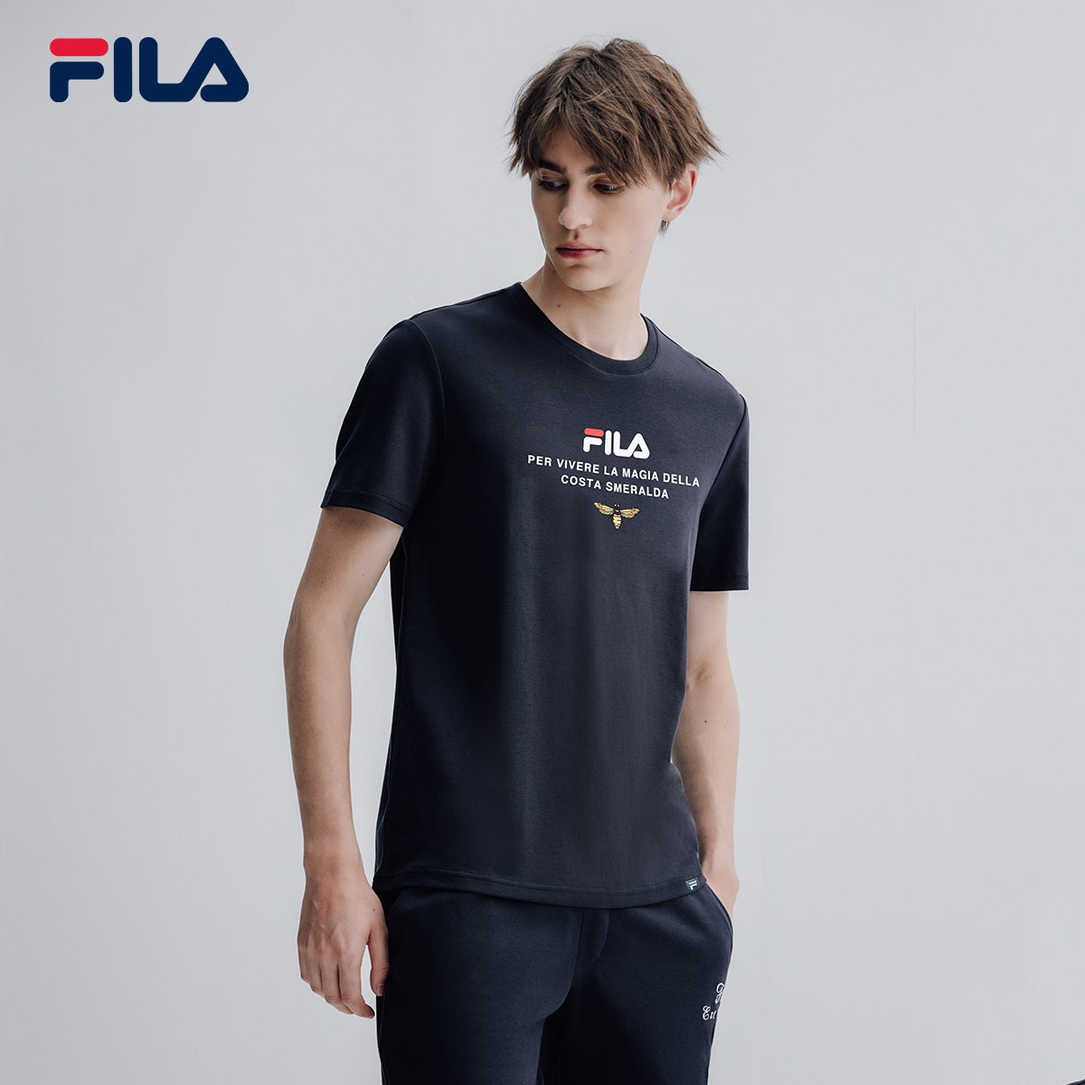 FILA Philharmonic official Huang Jingyu same short sleeve t-shirt men 2020 summer sports fashion all-around half sleeve short sleeve T-shirt