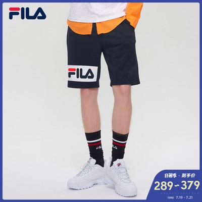FILA 斐乐官方 男子短裤 2019夏季新款运动休闲亲肤LOGO针织短裤