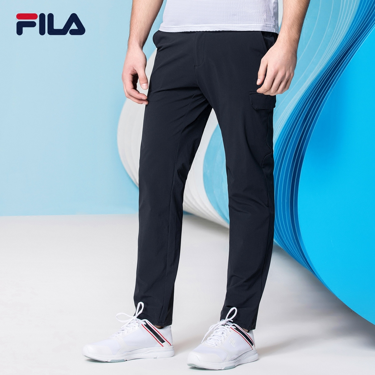 FILA斐乐高尔夫运动裤男2018官方正品新款商务优雅舒适运动长裤男