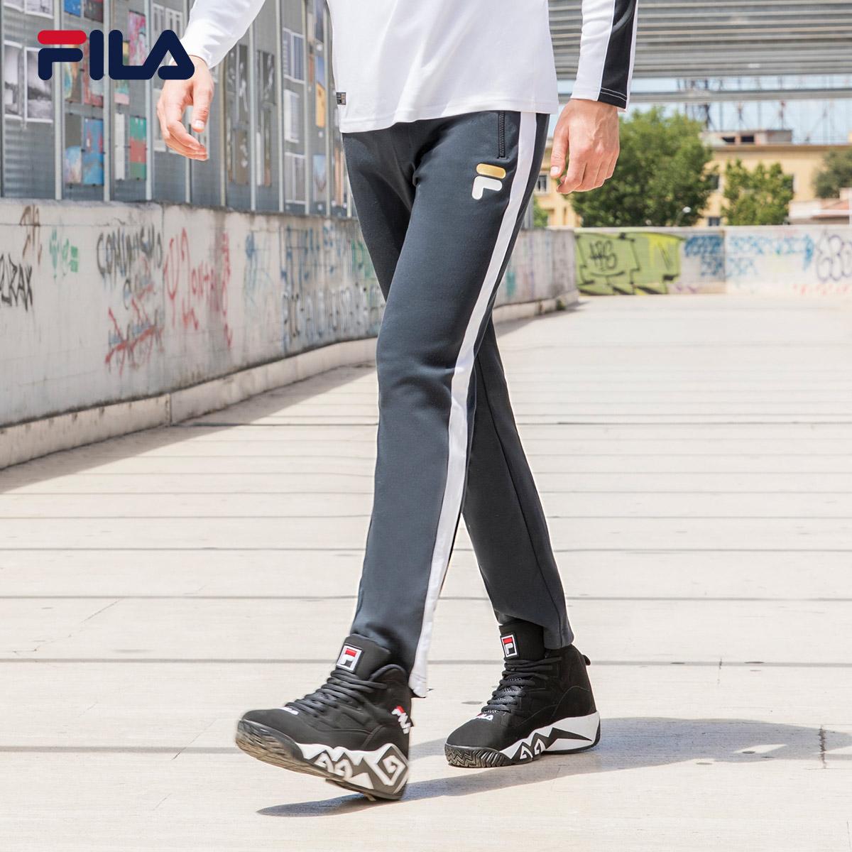 FILA斐乐运动长裤男2018秋季新品休闲透气修身时尚针织长裤