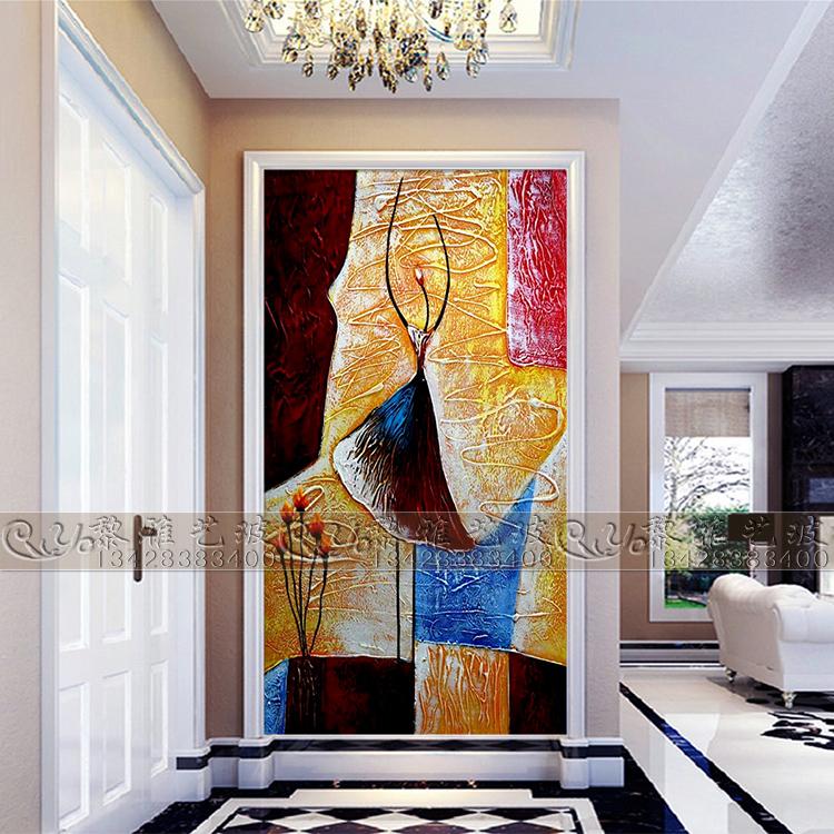 欧式艺术玻璃玄关过道电视背景屏风隔断3D雕花工艺玻璃抽象人物