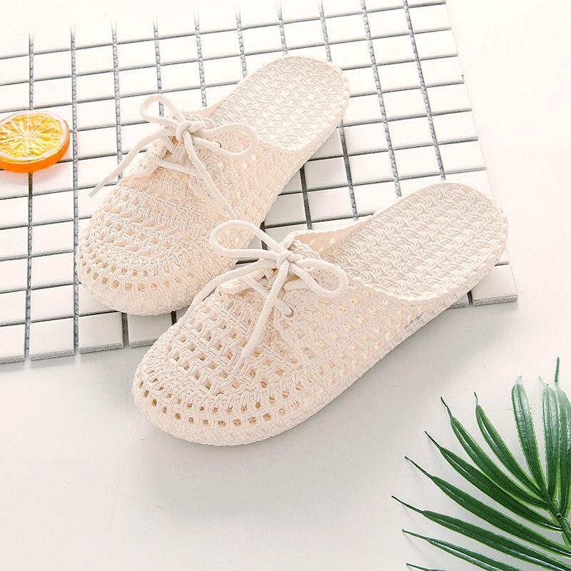 新款小白鞋夏季女士系带包头凉拖鞋镂空时尚外穿软底洞洞鞋沙滩鞋16.48元包邮