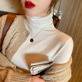 秋冬高领毛衣女2020新款黑色堆堆领针织衫修身白色内搭洋气打底衫