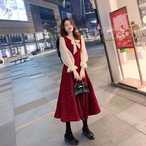 红色连衣裙女秋装2020新款小礼服中长款裙子仙女超仙森系气质显瘦